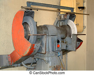 Old grinding machine - The image a rotor of lathe in the...