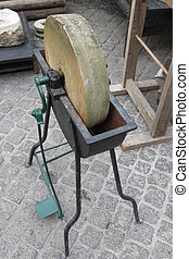 Old grindstone tool - An old grindstone tool to sharpen...