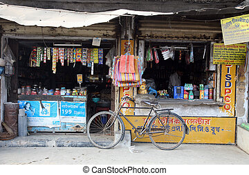 Old grocery store in a rural place in Kumrokhali, West ...