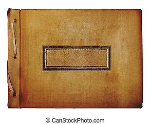 Old grunge album with gold wooden sticker