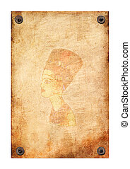 Old grunge antique paper texture queen Nefertiti