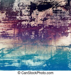 Old grunge background or aged shabby texture with different color patterns: brown; blue; purple (violet); black; white; cyan