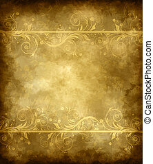 Old grunge background with decorative floral pattern