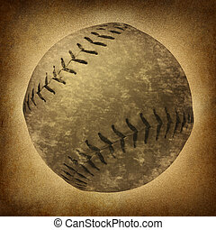 Old Grunge Baseball - Old grunge baseball or softball as a...