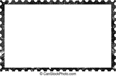 Old grunge blank postage paper stamp on white