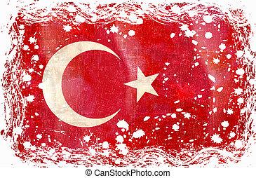 Old grunge flag of Turkey