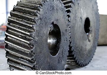 old grunge gears close up abstract concept