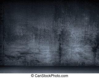 Old grunge gray interior