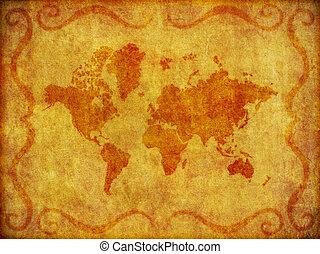 Old, Grunge Map of the World Illustration