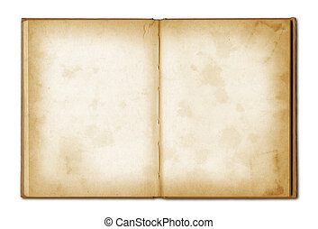old grunge open notebook isolated on white with clipping ...