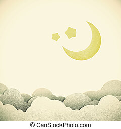 Old Grunge paper texture moon on vintage tone background