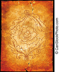 Old grunge paper with a rose
