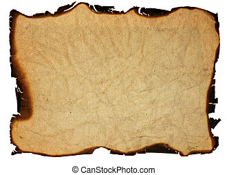 Image of the crumpled paper with burned edges - isolated