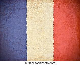 old grunge paper with France flag background