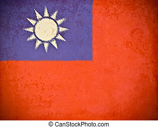 old grunge paper with Republic of China flag background