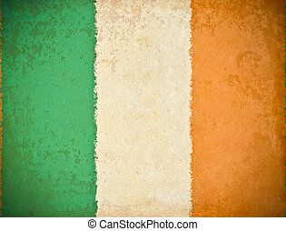 old grunge paper with republic of Ireland flag background