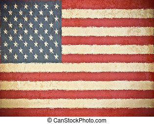 old grunge paper with USA flag background