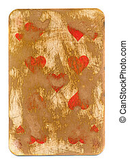 old grunge playing card background with hearts isolated