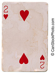 old grunge playing card with two red hearts isolated