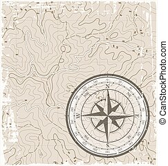 Topographic Map with Compass