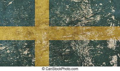 Old grunge vintage faded flag of Sweden