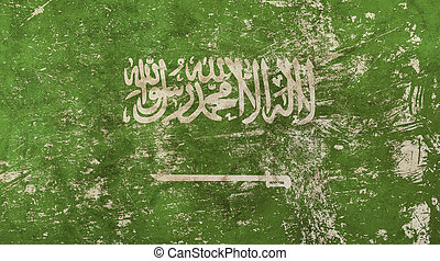 Old grunge vintage faded Saudi Arabia KSA flag - Old grunge...