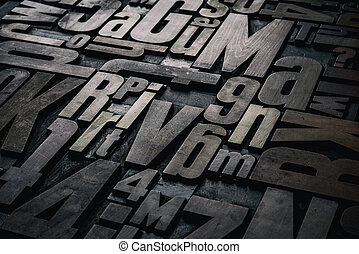 Old grungy letterpress wood type printing blocks