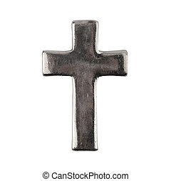 Old grungy metal cross isolated on white