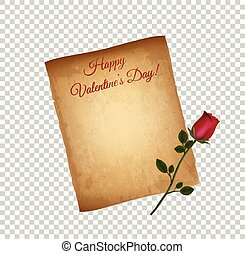 Old Grungy Parchment Paper and Red Elegant Rose