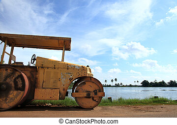 Old grungy road roller