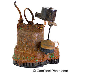 Old grungy rusted sump pump - Old defunct obsolete grungy ...
