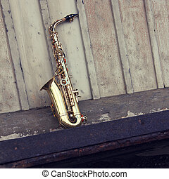 old grungy saxophone