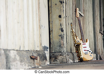 old guitar and sax