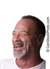 Old Guy in Gray Beard and Mustache Laughing
