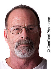 Old Guy in Grey Beard and Glasses Serious