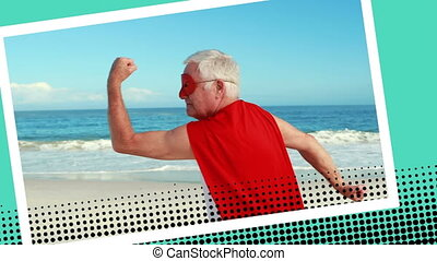 Close up of an old Caucasian man wearing a superhero costume posing near the beach with digital photo border effect