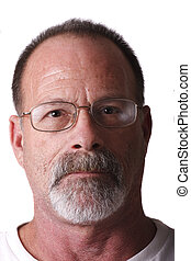 Old Guy with Beard and Mustache Looking at Camera
