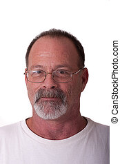 Old Guy with Gray Beard and Glasses Looking