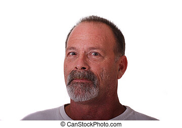 Old Guy with Gray Beard and Mustache Head to Side Looking at Cam