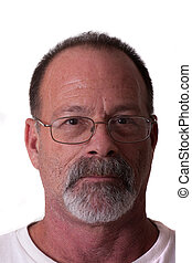 Old Guy with Gray Beard Serious with Glasses