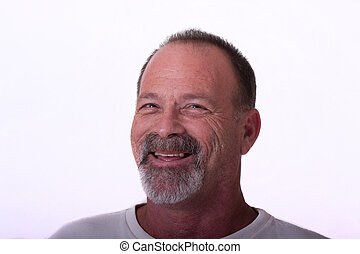 Old Guy with Gray Beard Smiling