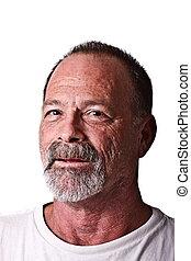 Old Guy with Scruffy Beard Rough Skin