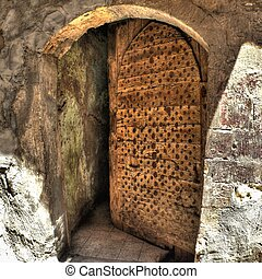 Old half-open door - Detail of old half-open door in the ...