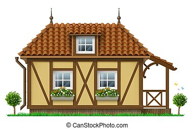Classic half timbered house. European traditional architecture. Fabulous hut. Vector graphics. Alpine chalet.