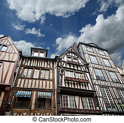 old half-timbered houses in Rouen,  Haute-Normandy, France