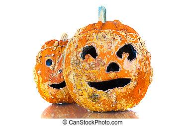 Old Halloween pumpkins