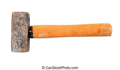 Old hammer isolated on white background, top view