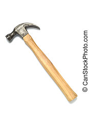 Old Hammer - Old claw hammer on white background with copy...
