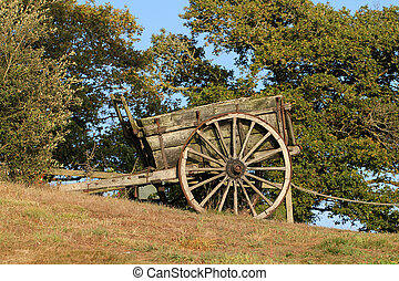 Very old hand cart in the nature