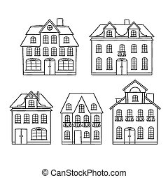 Old hand drawing houses isolated. Vector illustration